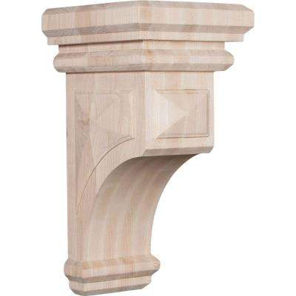 7 in. x 14 in. x 7-3/4 in. Rubberwood Jumbo Woodruff Wood Corbel