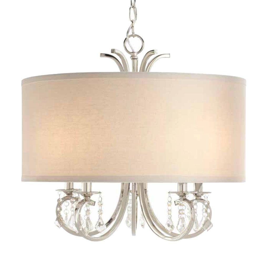 5-Light Polished Nickel Chandelier with White Linen Drum Shade and Dangling