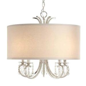 5 Light Polished Nickel Chandelier With White Linen Drum Shade And Dangling  Glass Beads · Home Decorators ...