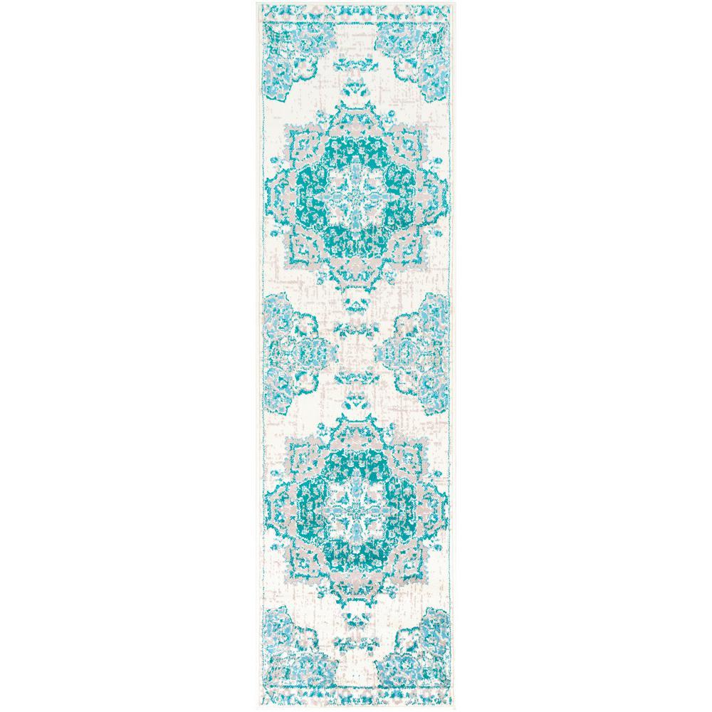 Sora Teal/Aqua 2 ft. 2 in. x 7 ft. 6 in. Oriental Runner Rug