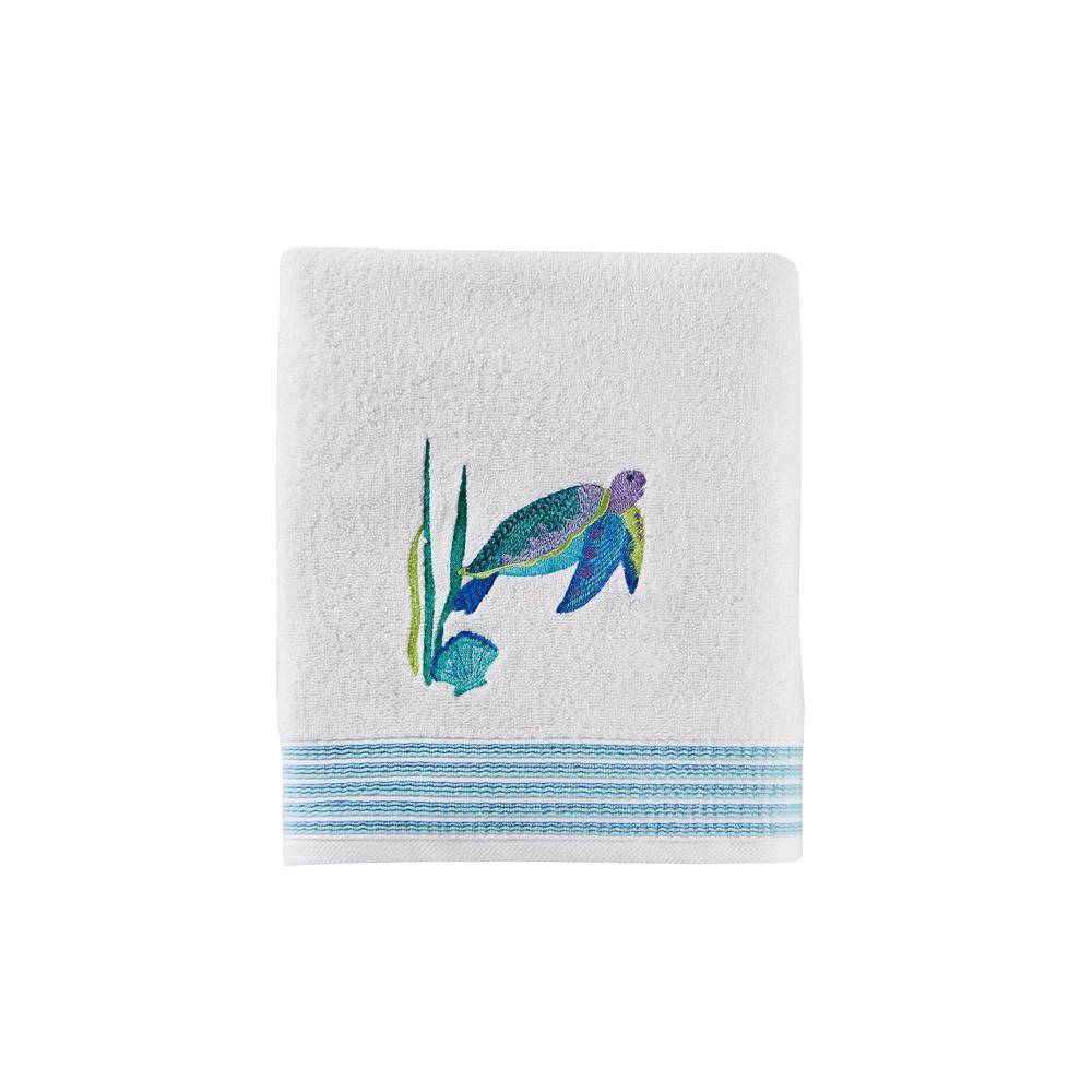 SKL Home Watercolor Ocean Cotton Bath Towel In White