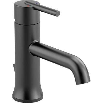 Trinsic Single Hole Single-Handle Bathroom Faucet with Metal Drain Assembly in Matte Black