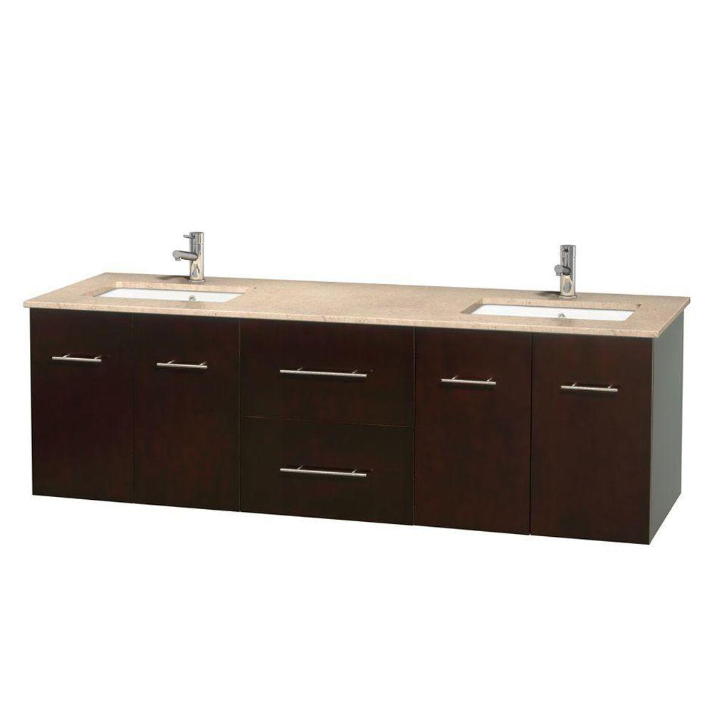 Wyndham Collection Centra 72 In Double Vanity In Espresso With Marble Vanity Top In Ivory And