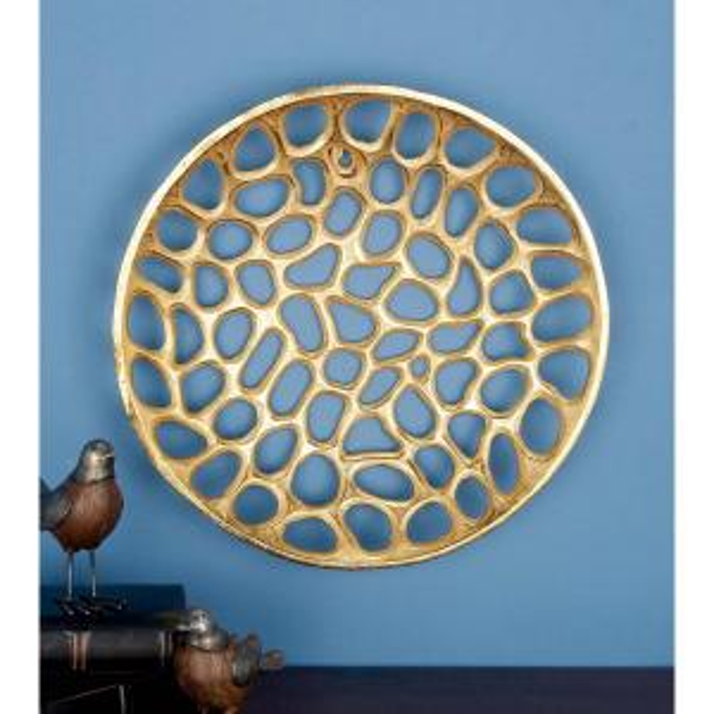 Litton Lane Modern Gold Aluminum Wall Plate Set Of 3 53454