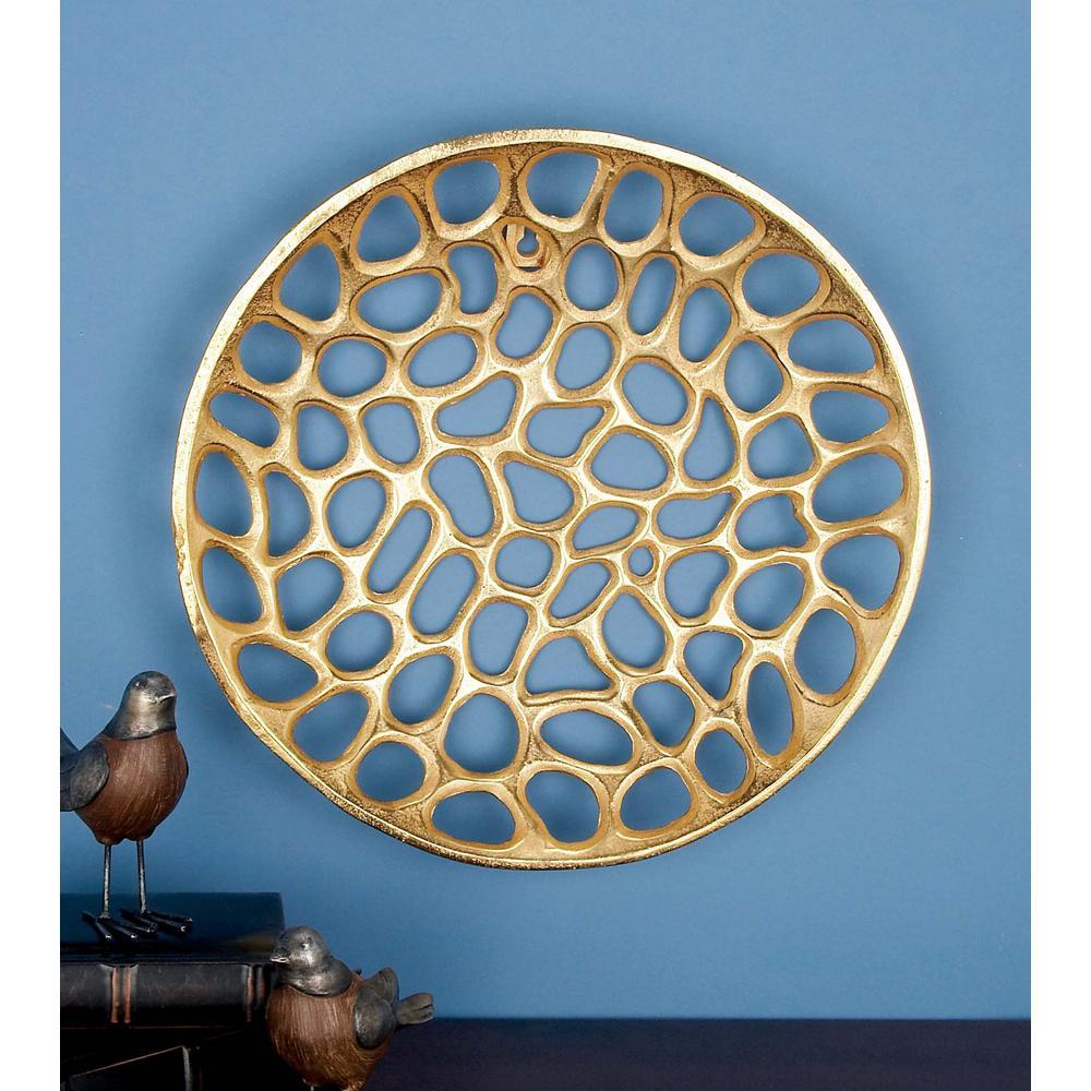 Modern Gold Aluminum Wall Plate (Set of 3)