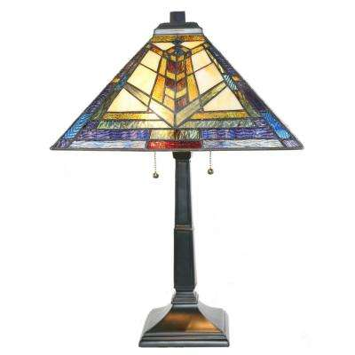 23 in. Multi-Colored Table Lamp with Mission Style Stained Glass Colors of Kaleidoscope Shade