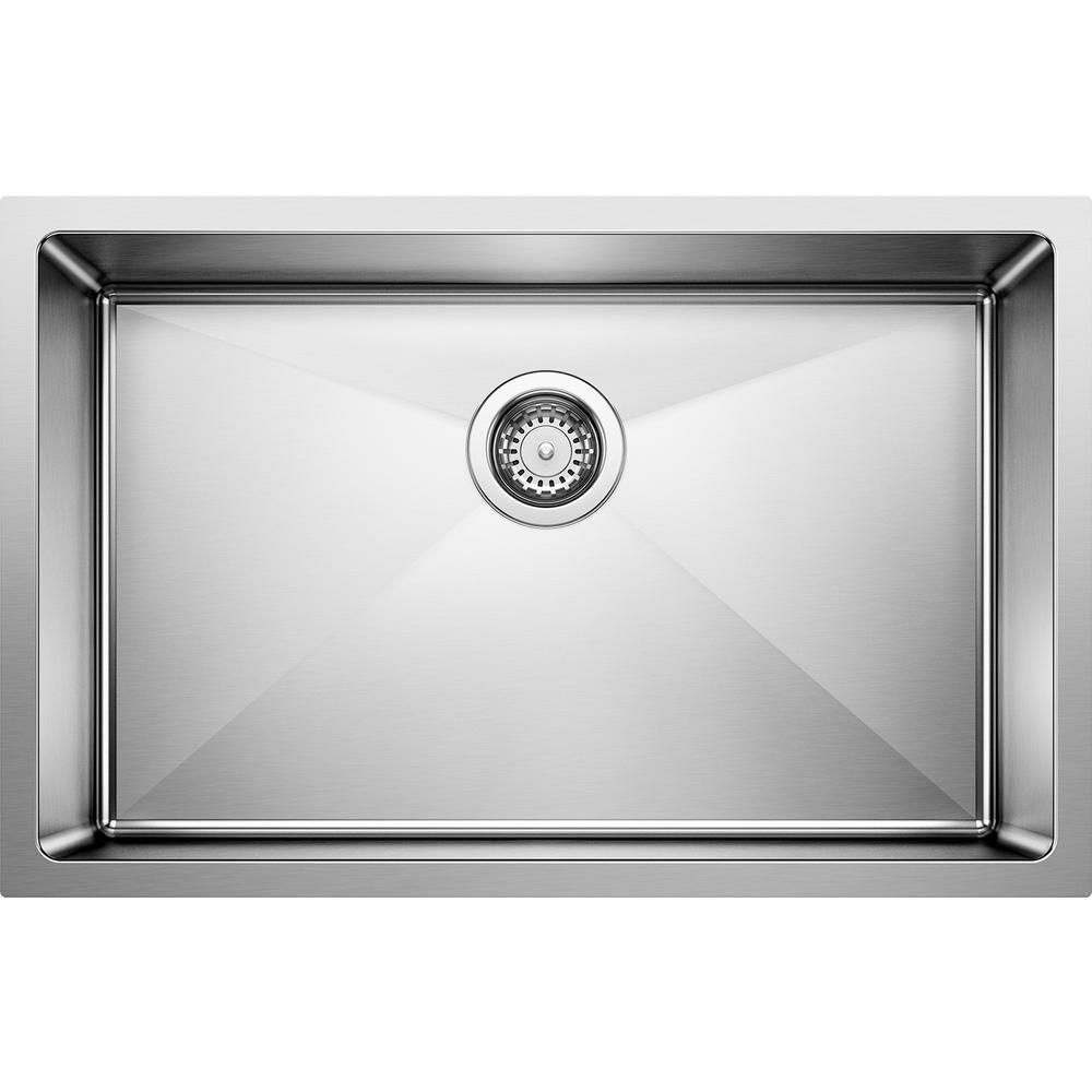 Blanco QUATRUS R15 Undermount Stainless Steel 28 in. Single Bowl Kitchen  Sink
