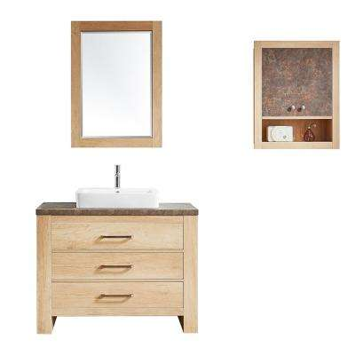 Alpine 42 in. W x 21 in. D Bath Vanity in Oak with Melamine Vanity Top in Rustic Marble with White Basin and Mirror