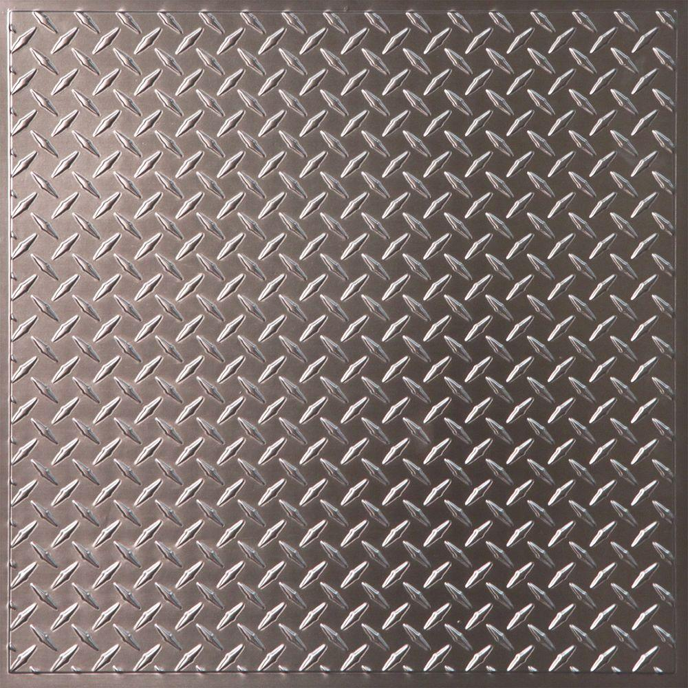 Ceilume Diamond Plate Faux Tin 2 Ft X 2 Ft Lay In Or