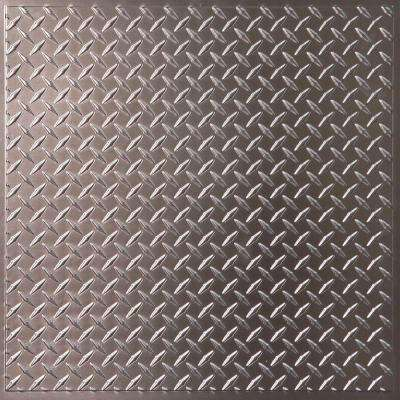 Diamond Plate Faux Tin 2 ft. x 2 ft. Lay-in or Glue-up Ceiling Panel (Case of 6)