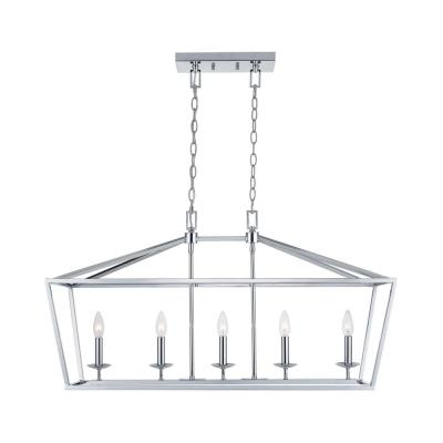 Weyburn 5-Light Chrome Caged Island Chandelier