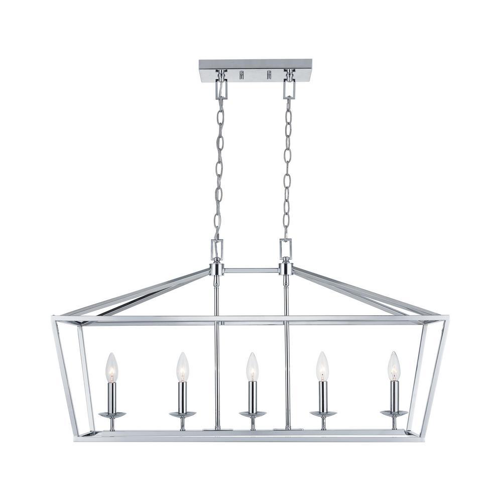 Weyburn 5-Light Chrome Caged Island Chandelier