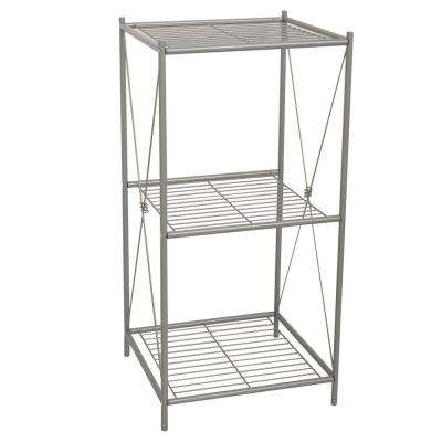 Cross Style 14.62 in. W Floor Stand Rack in Satin Nickel