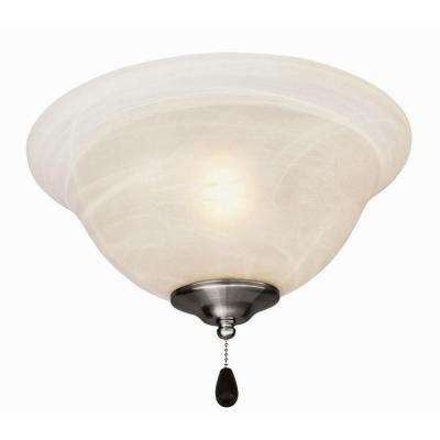 3-Light Satin Nickel Ceiling Fan Light Kit with Alabaster Glass Bowl Shade