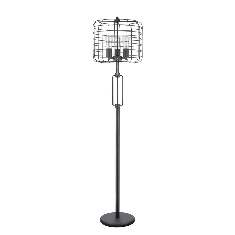 Sand Black Wire Cage Metal Floor Lamp
