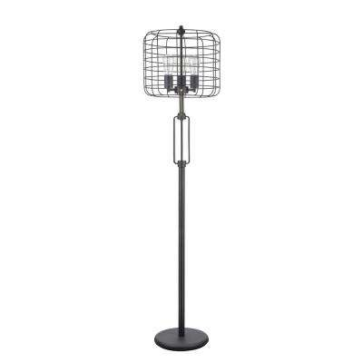 63 in. Sand Black Wire Cage Metal Floor Lamp