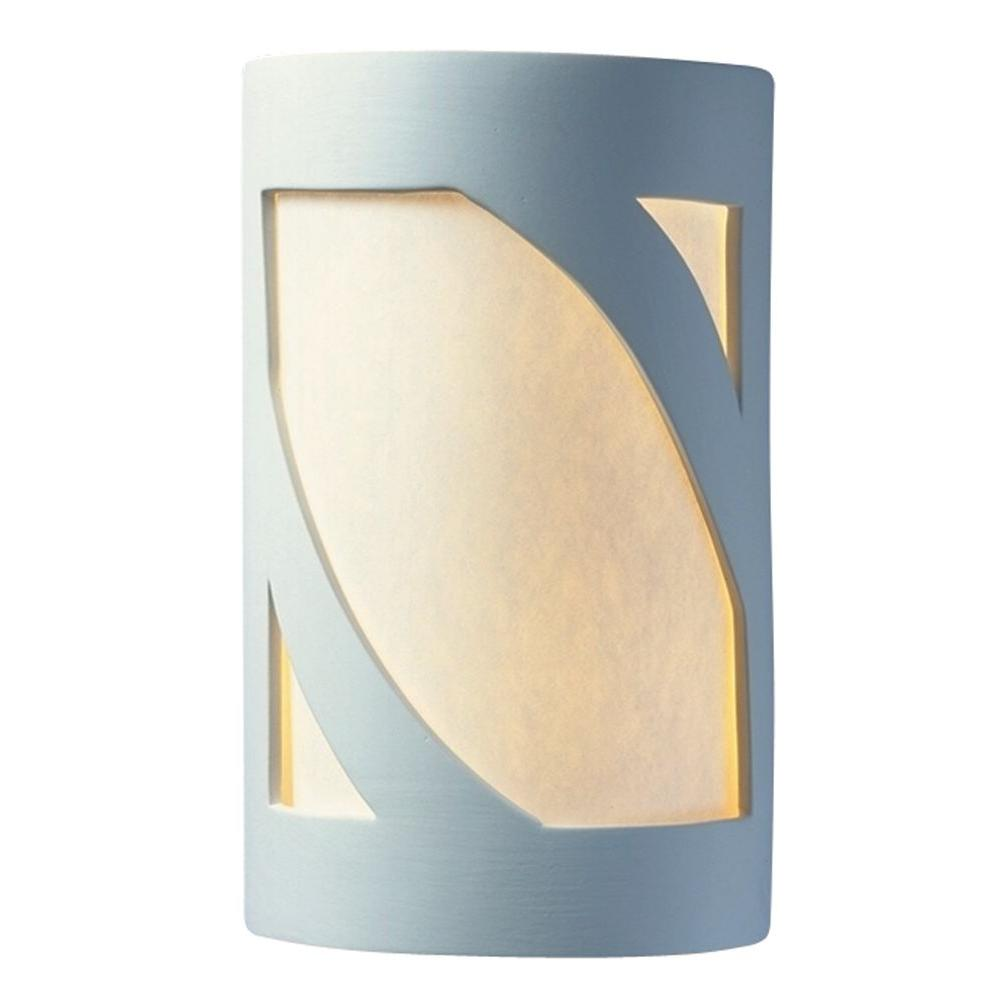 Leonidas 2-Light Paintable Ceramic Bisque Large Lantern Open Top and Bottom