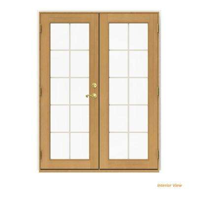 60 in. x 80 in. W-2500 White Clad Wood Right-Hand 10 Lite French Patio Door w/Stained Interior