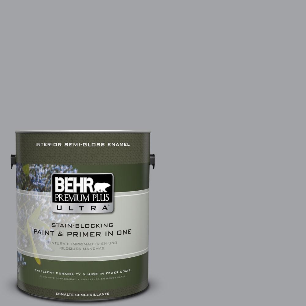 BEHR Premium Plus Ultra 1-gal. #N530-4 Power Gray Semi-Gloss Enamel Interior Paint