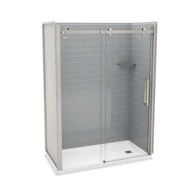 Utile Metro 32 in. x 60 in. x 83.5 in. Right Drain Alcove Shower Kit in Ash Grey with Brushed Nickel Shower Door