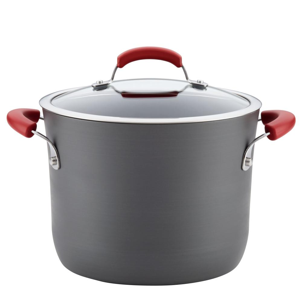 Hard Anodized 8 Qt 2 Piece Gray With Red Handles Aluminum Non