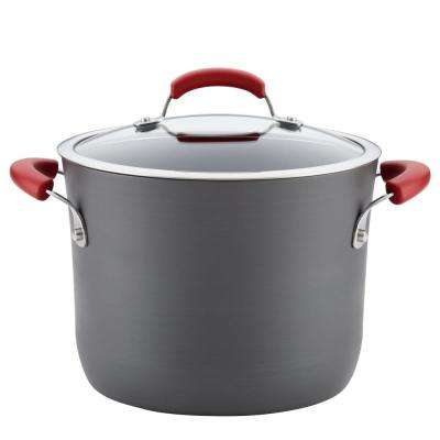 Hard-Anodized 8 Qt. 2-Piece Gray with Red Handles Aluminum Non-Stick Covered Stockpot