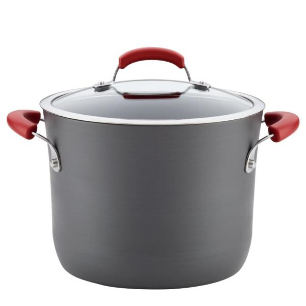 Hard-Anodized 8 Qt. 2-Piece Gray with Red Handles Aluminum Non-Stick Covered
