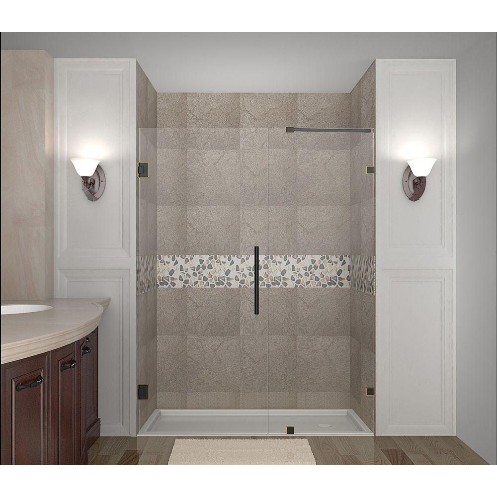 Nautis 60 in. x 72 in. Completely Frameless Hinged Shower Door