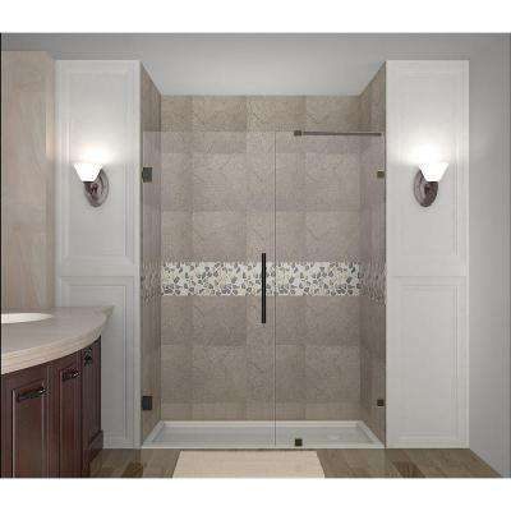 Nautis 60 in. x 72 in. Completely Frameless Hinged Shower Door in Oil Rubbed Bronze