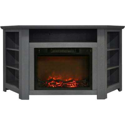 Stratford 56 in. Electric Corner Fireplace in Gray with 1500-Watt Fireplace Insert