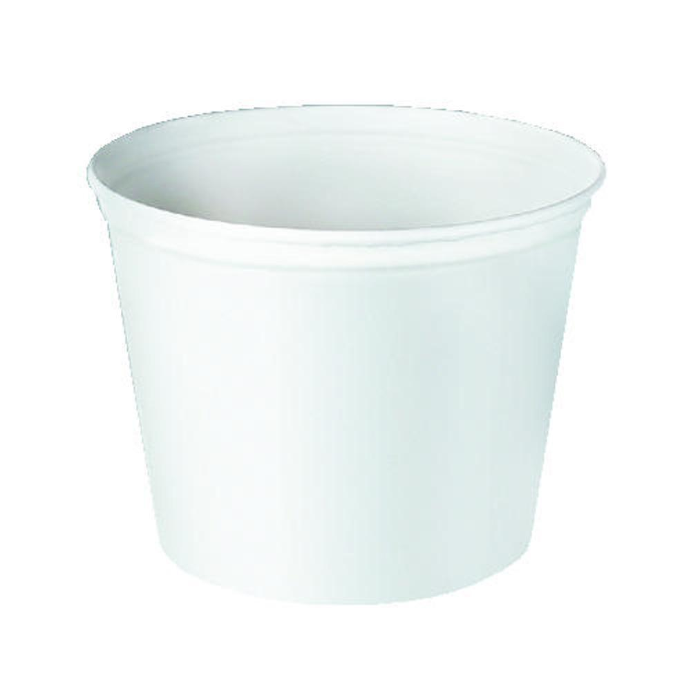 SOLO Double Wrapped Paper Bucket, 83 oz., Unwaxed, White, 100 Per Case