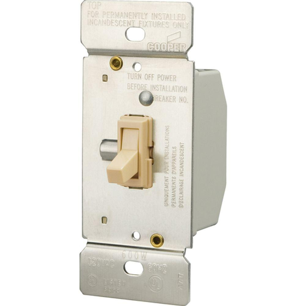 Eaton 600-Watt 3-Way Incandescent Non-Preset Toggle Dimmer, White ...