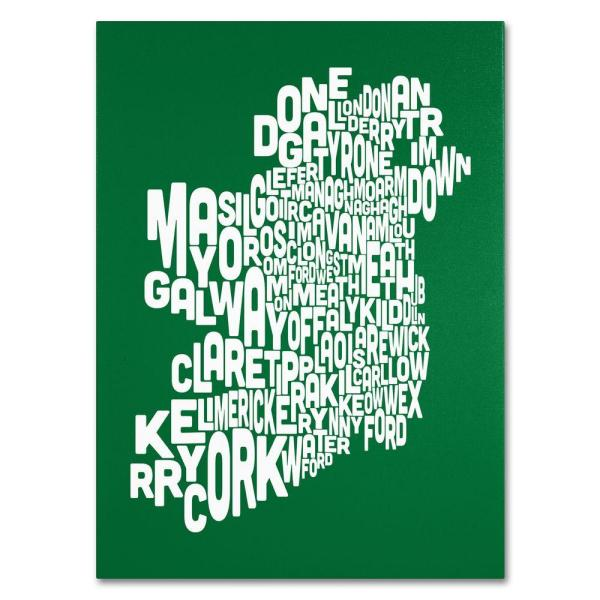 Map Of Ireland 32.24 In X 32 In Ireland Text Map Forest Canvas Art