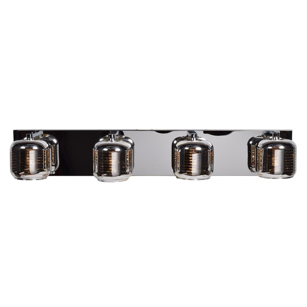 Dor 31 in. W 4.5-Watt Mirrored Stainless Steel Integrated LED Bath Light