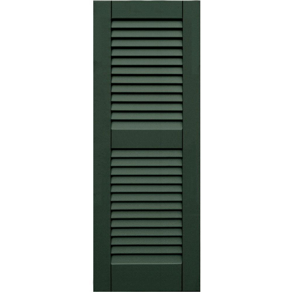 Winworks Wood Composite 15 in. x 41 in. Louvered Shutters Pair #656 Rookwood Dark Green