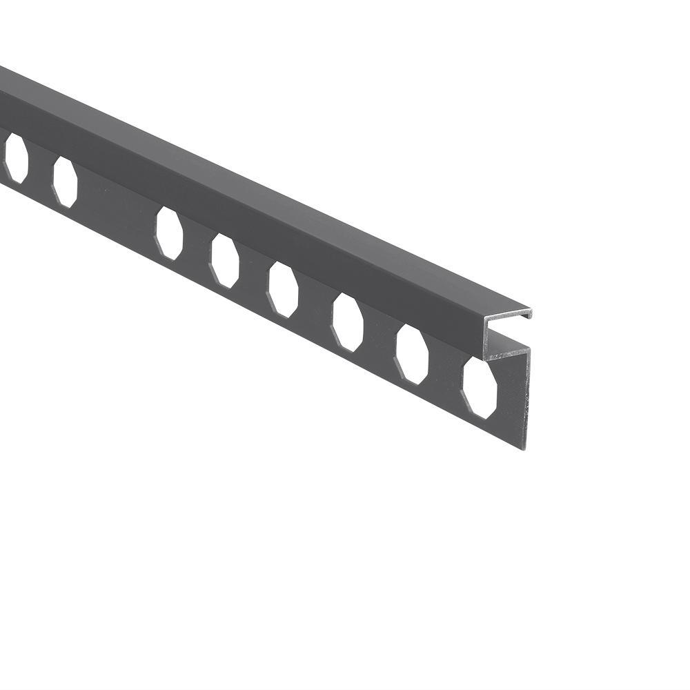 Novolistel 3 Matt Graphite 3/8 in. x 98-1/2 in. Aluminum Tile Edging Trim