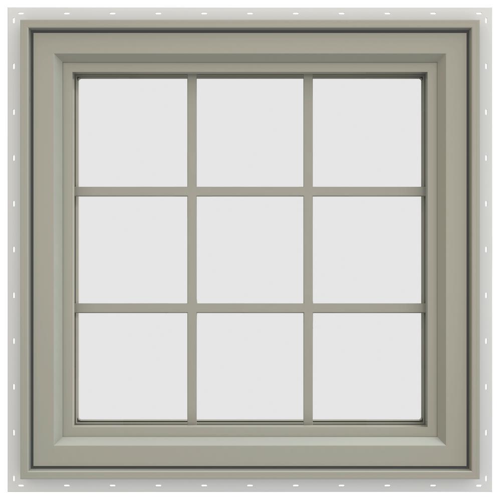 29.5 in. x 29.5 in. V-4500 Series Left-Hand Casement Vinyl Window with Grids - Tan