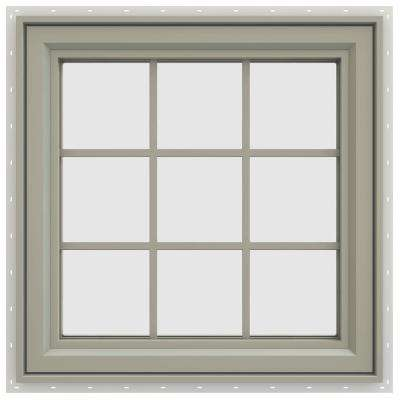 29.5 in. x 29.5 in. V-4500 Series Right-Hand Casement Vinyl Window with Grids - Tan