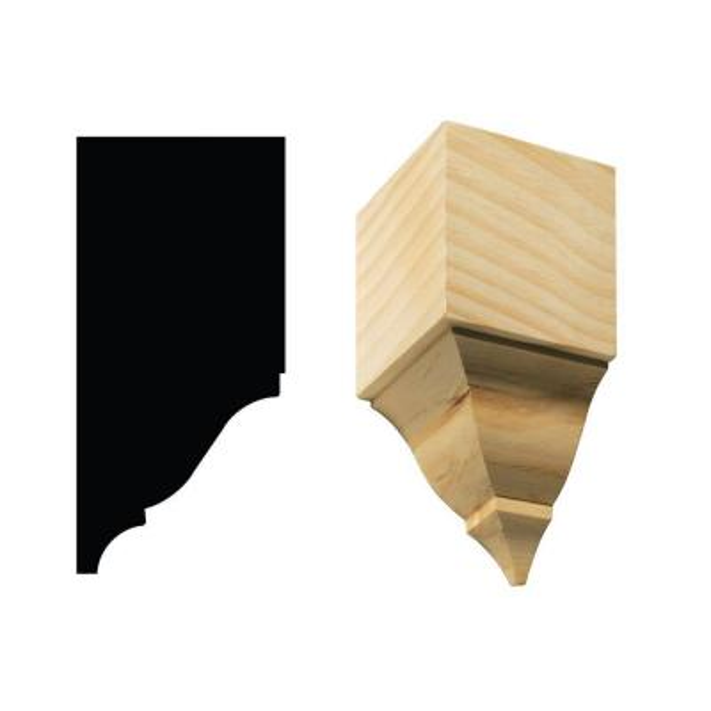 1899I/S 4-3/16 in. x 3-11/16 in. x 7-3/4 in. White Hardwood Large Inside Crown Block Moulding