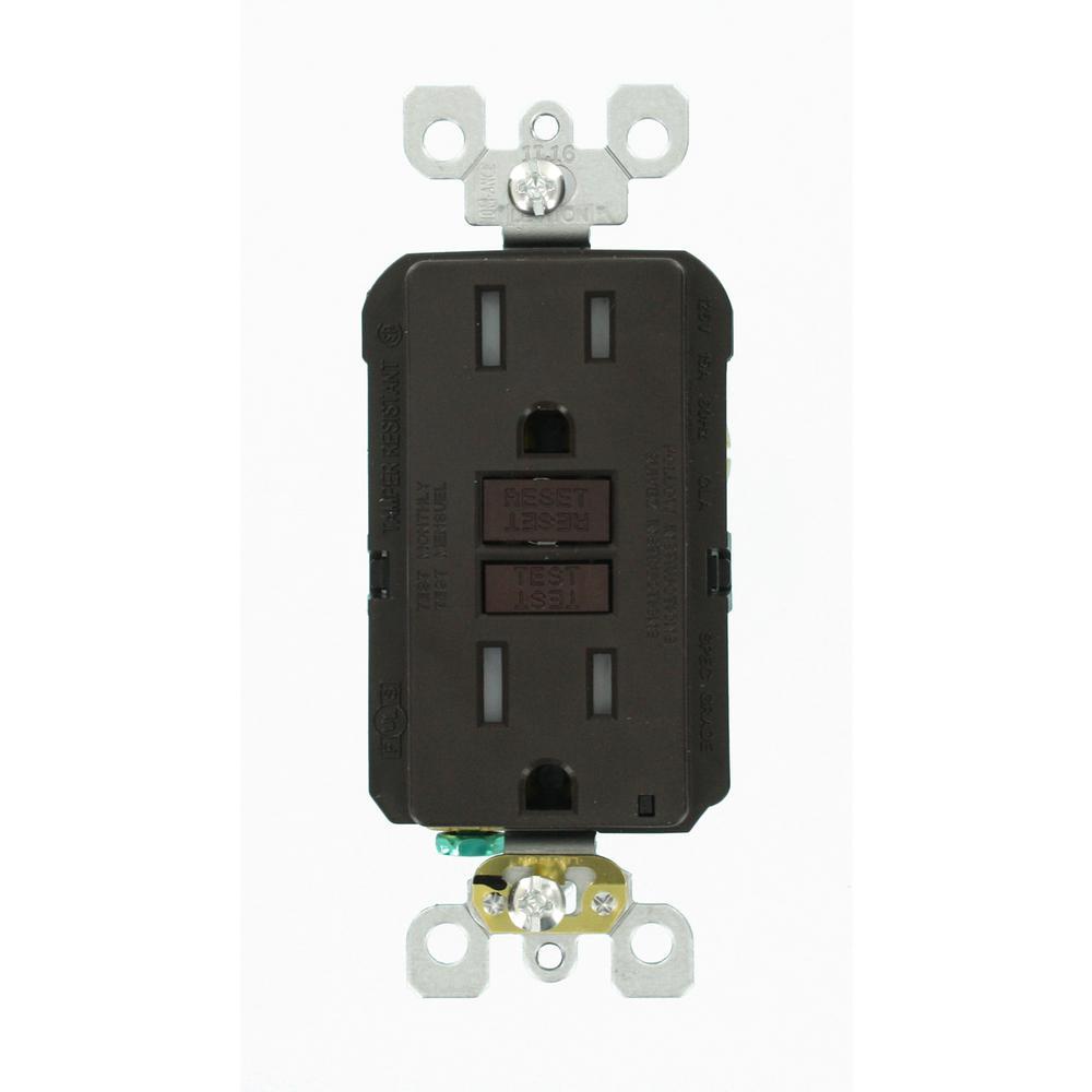 Leviton 15 Amp 125-Volt Duplex SmarTest Self-Test SmartlockPro Tamper Resistant GFCI Outlet, Brown