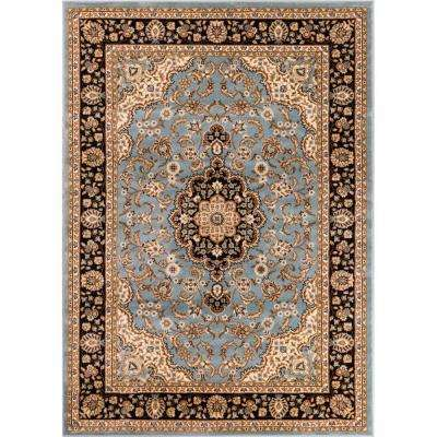 Barclay Medallion Kashan Light Blue 9 ft. x 13 ft. Traditional Area Rug