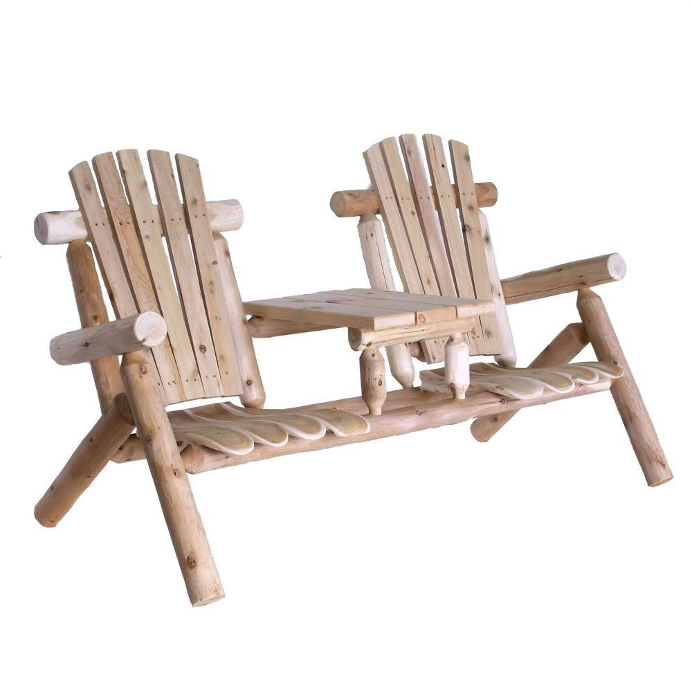 Lakeland Mills Tete-a-Tete Patio Chairs and Table  sc 1 st  Home Depot : log adirondack chairs - Cheerinfomania.Com