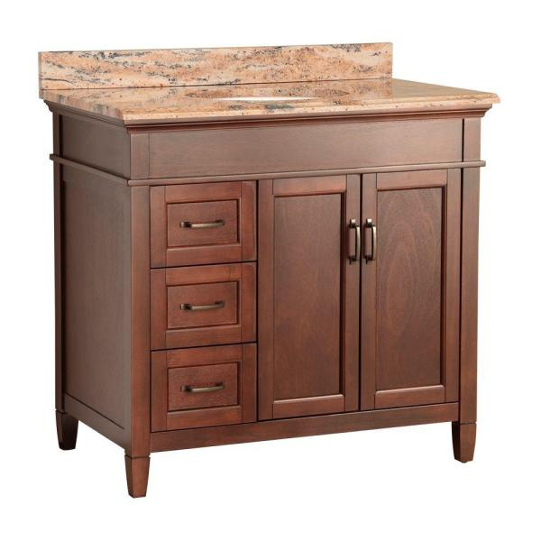 Ashburn 37 in. W x 22 in. D Vanity in Mahogany with Vanity Top and Stone Effects in Bordeaux