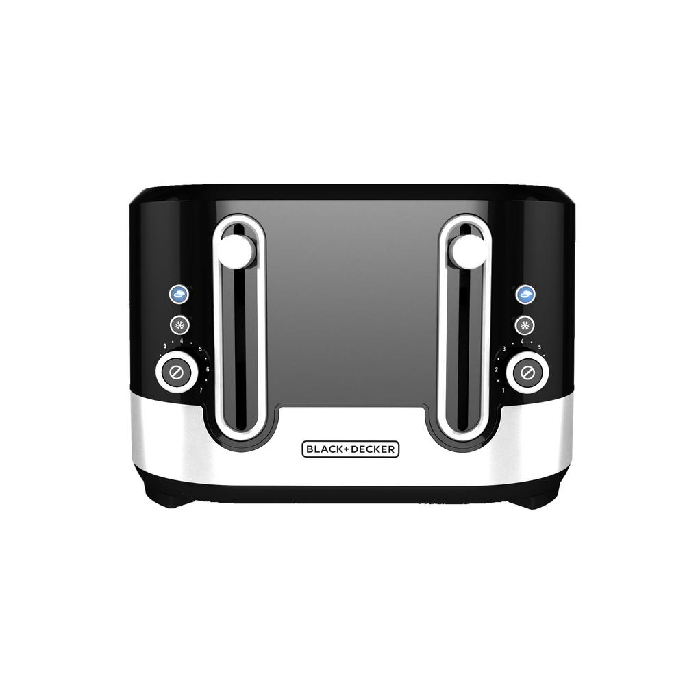 4-Slice Extra Wide Slot Black Toaster with Stainless Acce...
