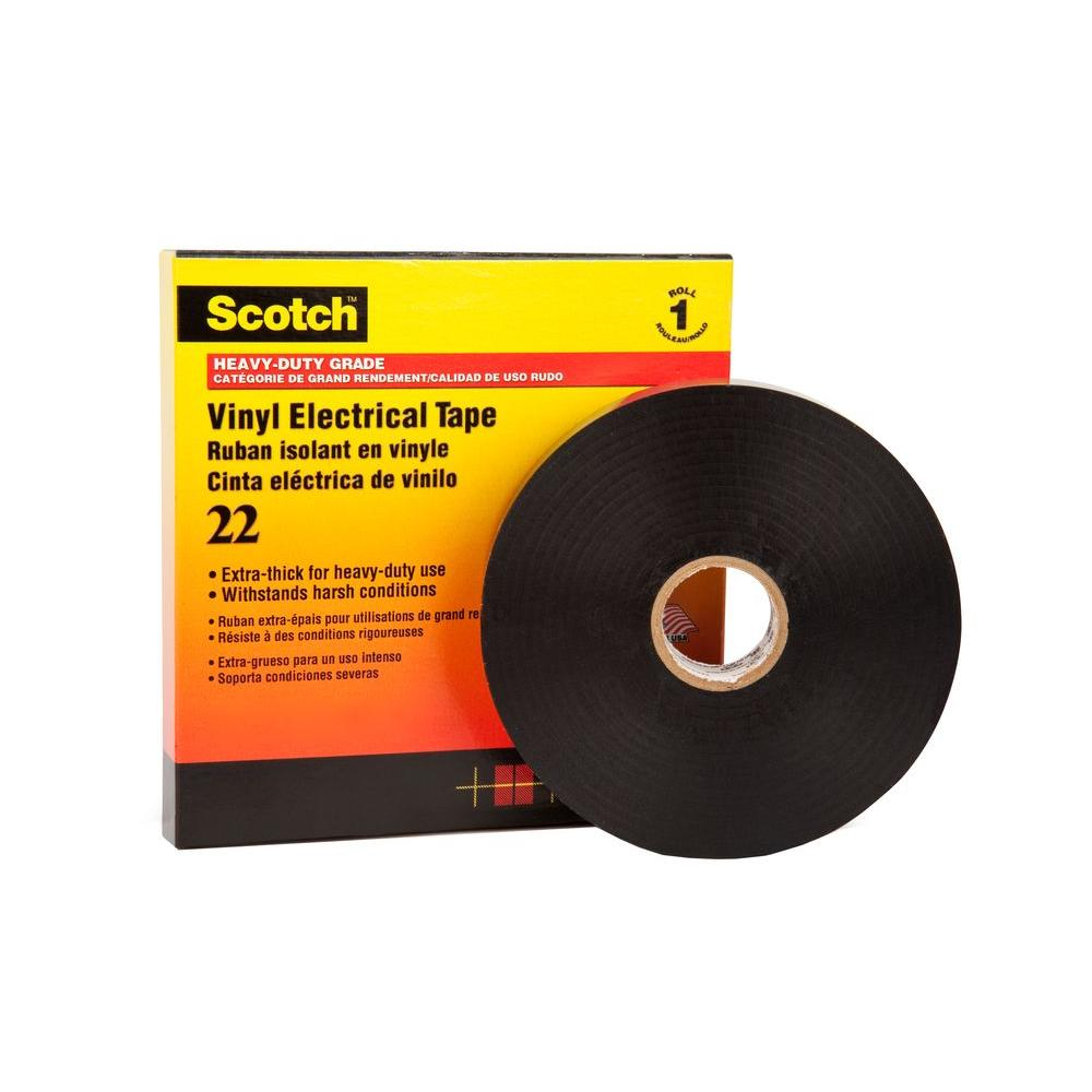 3M Scotch 2 in  x 108 ft  Heavy Duty Vinyl Electrical Tape - Black (Case of  12)
