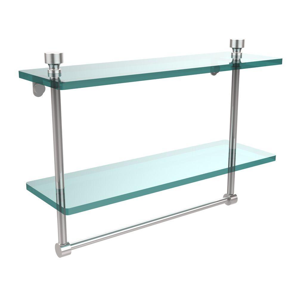 Allied Brass Foxtrot 16 in. L  x 12 in. H  x 5 in. W 2-Tier Clear Glass Bathroom Shelf with Towel Bar in Polished Chrome