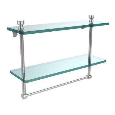Foxtrot 16 in. L  x 12 in. H  x 5 in. W 2-Tier Clear Glass Bathroom Shelf with Towel Bar in Polished Chrome