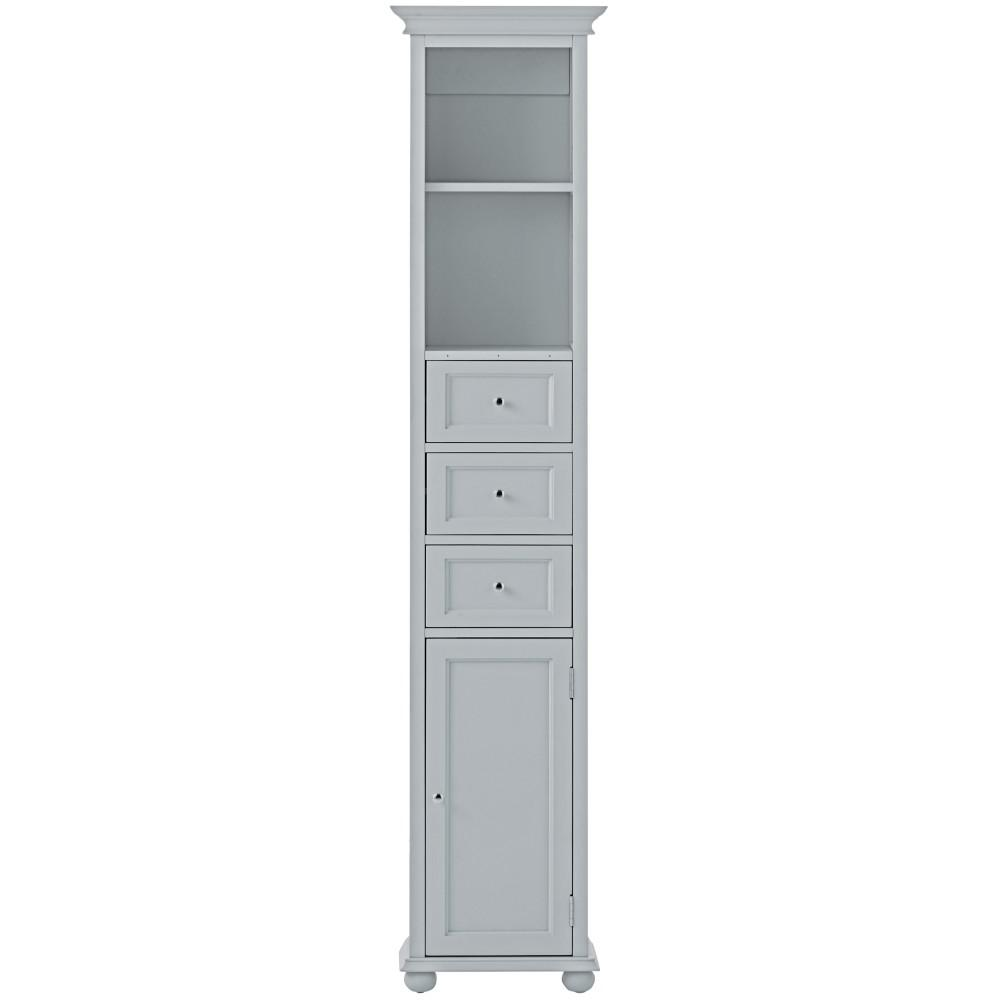Home Decorators Collection Hampton Harbor 15 in. W x 10 in. D x 67-1/2 in. H Linen Storage Cabinet in Dove Grey