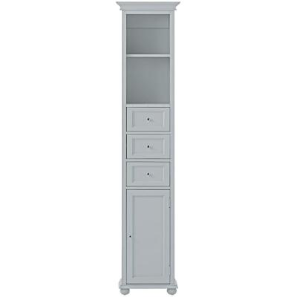 Hampton Harbor 15 in. W x 10 in. D x 67-1/2 in. H Linen Storage Cabinet in Dove Grey