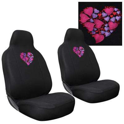Polyester Set Cover Set 24 in. L x 21 in. W x 40 in. H 2-Piece Embroidered Heart Seat Cover Set